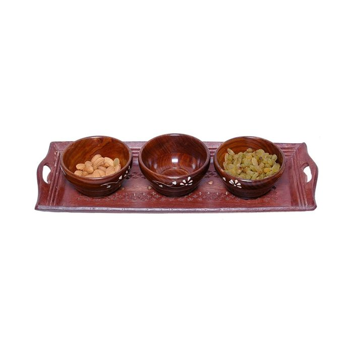 Onlineshoppee Wooden Handmade 3 Dry Fruit bowl & 1 Serving Tray Size (lxbxh-15x6x1) Inch Set Of 4