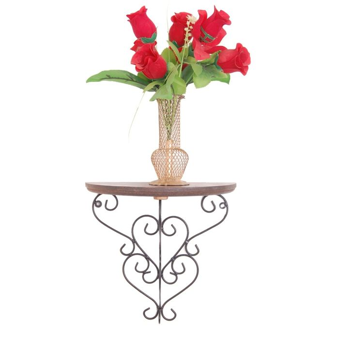 Onlineshoppee  Wooden & Wrought Iron Big Wall Bracket/Rack  Size (LxBxH-11x6x11) Inch