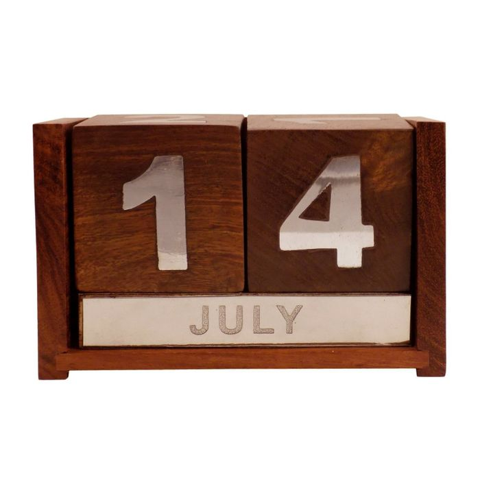 Onlineshoppee Wooden Never Ending Date Calendar for Office Desk Decoration Size (LxBxH-4.5x3x3) Inch