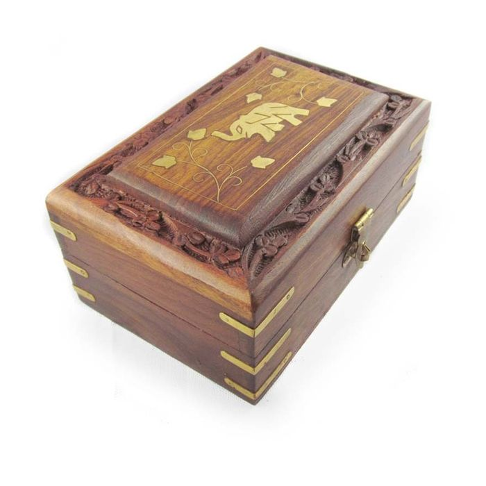 Onlineshoppee Wooden Antique Handcrafted Decorative Jewellery Storage Box Size(LxBxH-6x4x2.5) Inch