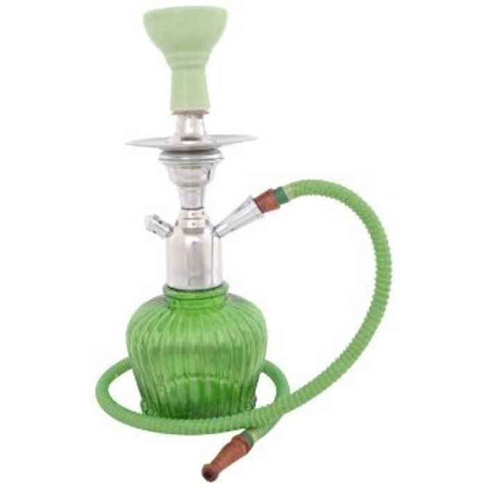 Onlineshoppee Home Decor Glass Hookah Color-Green Size-12 Inch