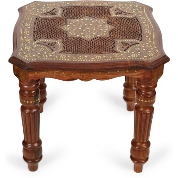 Onlineshoppee Wooden Handcarved Work Square Shaped Side Table Size-14x14x12 Inch