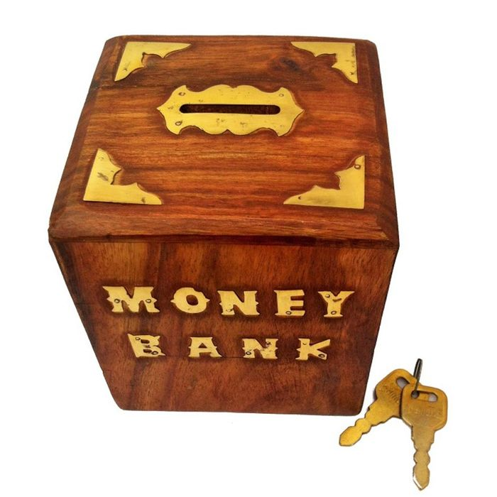 Onlineshoppee Woooden With Brass Work Antique Money Bank Size-3.5x3.5x4.5 Inch