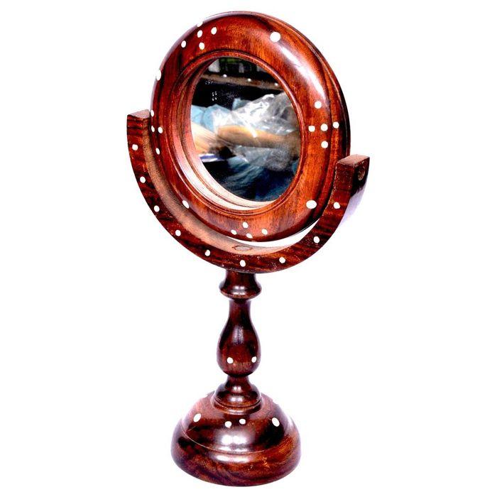 Onlineshoppee Antique Fancy Design Handicraft Brown wooden Mirror Stand