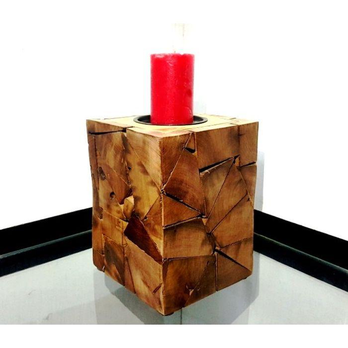 Onlineshoppee Wooden Antique Tea light Holder Square Shape Size-LxBxH-6.5x6.5x8 Inch