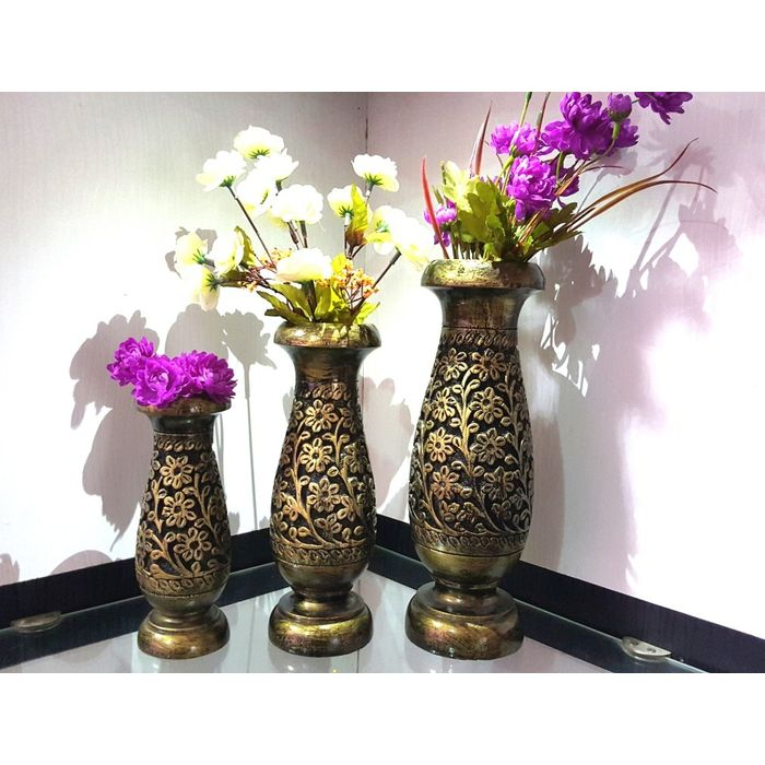 Onlineshoppee Wooden Antique Flower Vase With Hand Carved Design Pack Of 3 LxBxH-4x4x10 inch