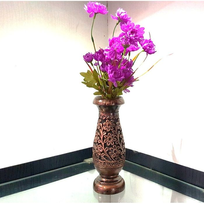 Onlineshoppee Wooden Antique Flower Vase With Hand Carved Design LxBxH-3x3x8 Inch