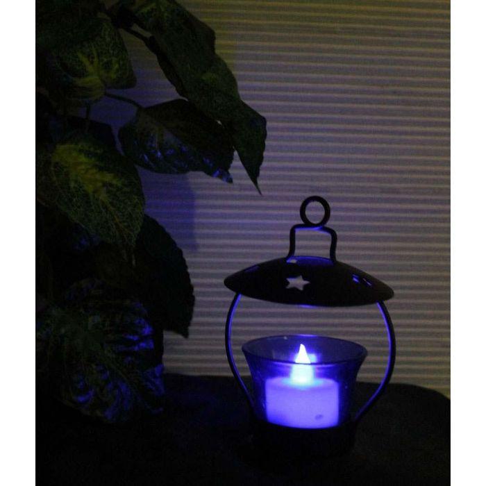 Onlineshoppee Iron & Glass Tea light Holder Set Of 1 Size-LxBxH-3.5x3.5x5 Inch