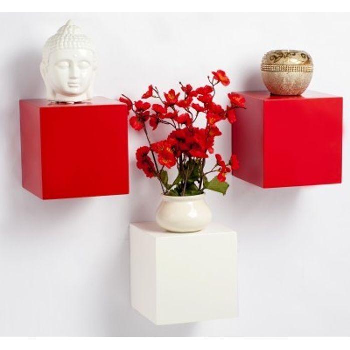 Onlineshoppee Beautiful Design MDF Wall Shelf Size-LxBxH-6x6x6- Inch Pack Of 3