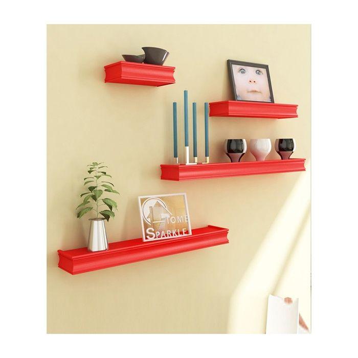 Onlineshoppee Beautiful Wooden Red Rectangular Wooden Wall Shelf