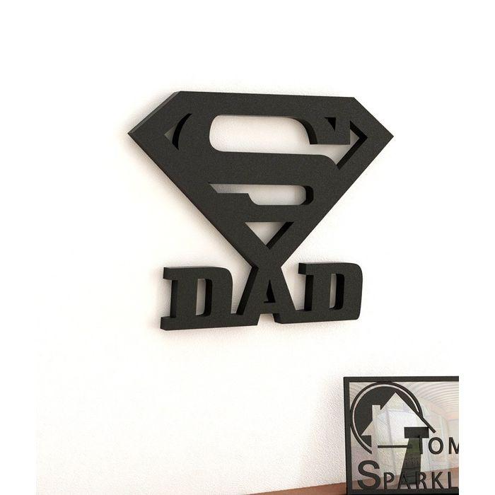 Onlineshoppee Super Dad Wooden Wall Sticker - Black