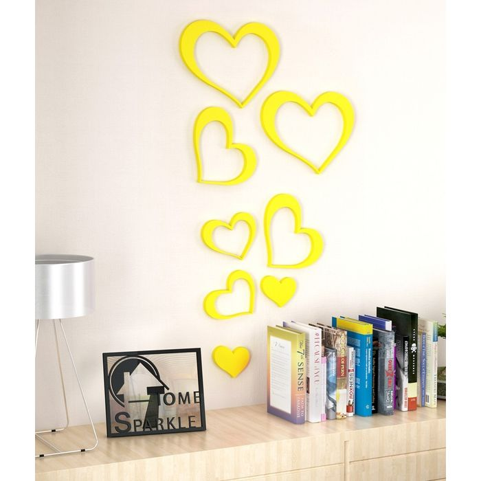 Onlineshoppee Set of 8 Wooden Hearts Stickers Yellow
