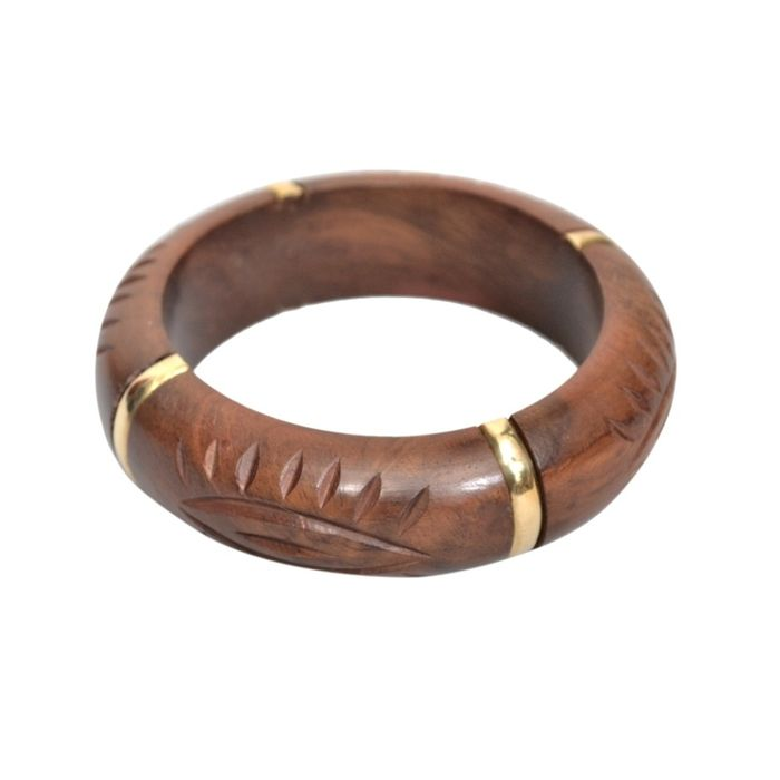 Onlineshoppee Wooden With Brass Work Bangle Size-Standrad