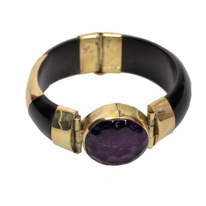 Onlineshoppee Wooden & Brass With Gem Stone Bracelets Size-Standrad