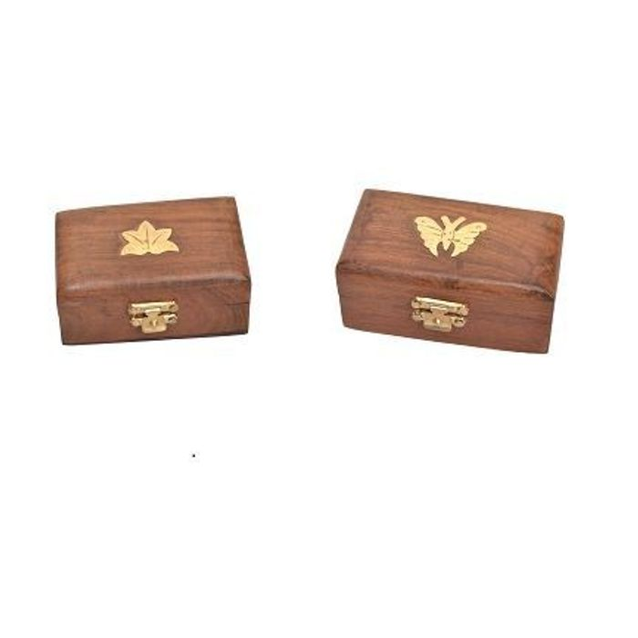 Onlineshoppee Wooden Antique Brown Jewellery Vanity Multi Purpose Box with Brass Work  Pack Of 2