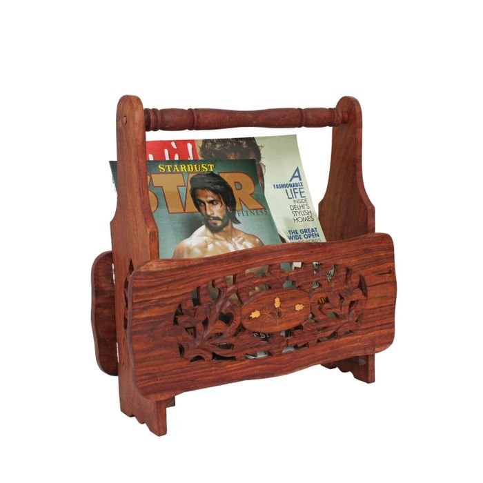 Onlineshoppee Intricately Hand Crafted Wooden Book Magazine Rack Stand Holder with Floral Carvings (19x3x13.5) inch