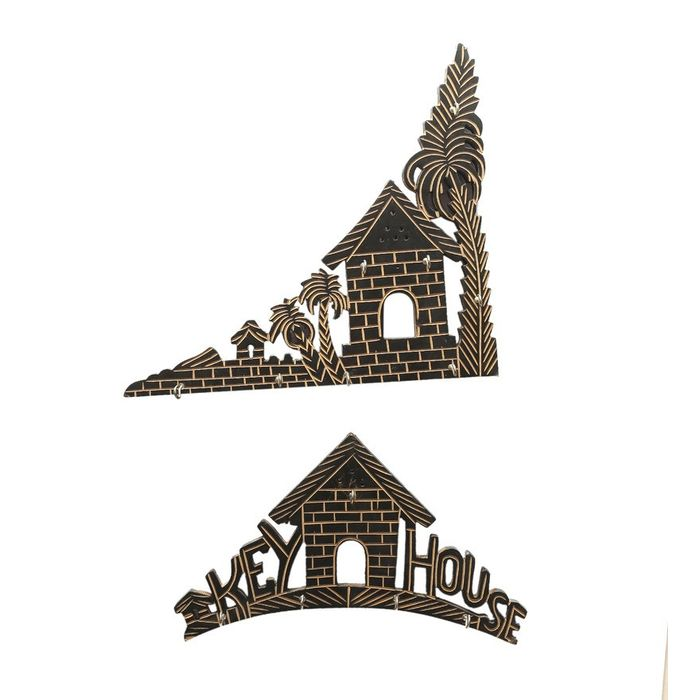 Onlineshoppee Wooden Key Holder  Fancy House & Tree Design Set of 2