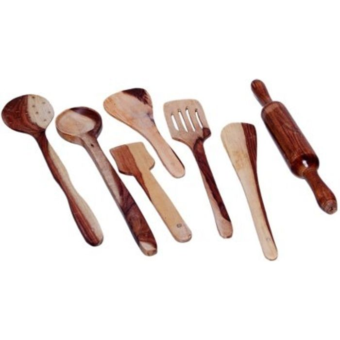 Onlineshoppee  Antique Wooden Handmade Cooking Spoon Set