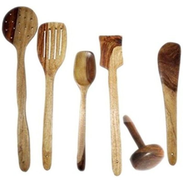 Onlineshoppee  Antique Wooden Handmade Cooking Spoon Set