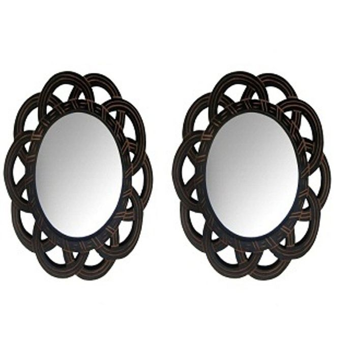 Onlineshoppee Wooden Antique With Handicraft Work Fancy Design  Mirror Frame Size(LxBxH-11x1x11) Inch Pack Of 2