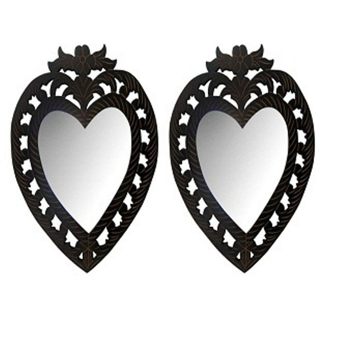 Onlineshoppee Wooden Antique With Handicraft Work Heart Design  Mirror Frame  Pack Of 2