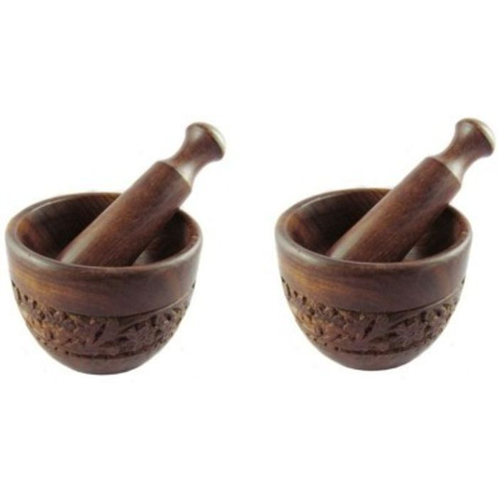 Onlineshoppee Wooden Mortar & Pestle / Masher In Natural Brown Pack Of 2