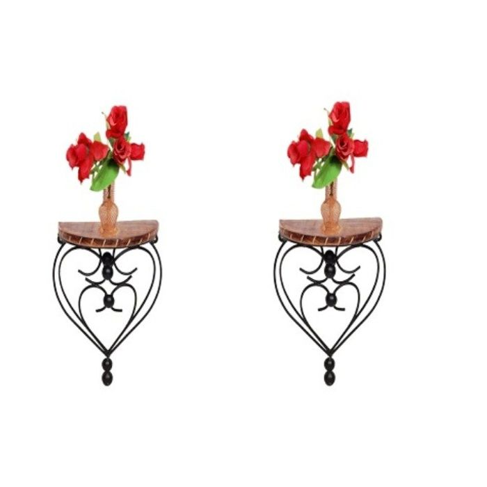 Onlineshoppee Home Decor Premium Quality Unique Design Shelf Rack Wall Bracket Wall Rack Pack Of 2
