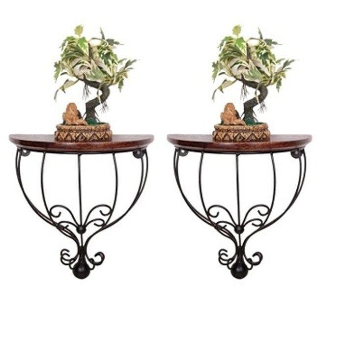 Onlineshoppee Wood & Iron Wall Bracket/Rack  Pack Of 2
