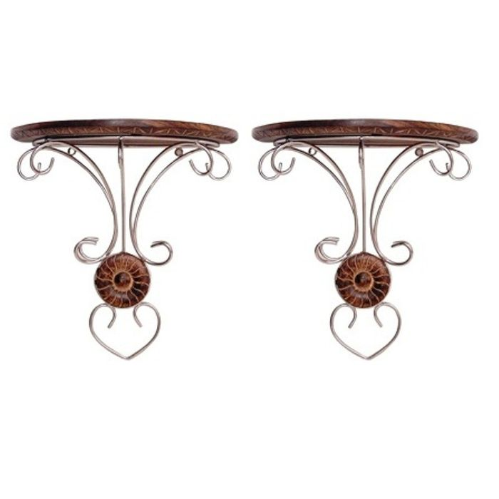 Onlineshoppee Wooden & Steel Fancy Design Wall Bracket/Rack  Set Of 2
