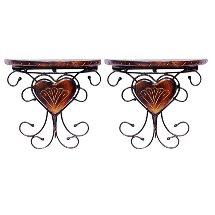 Onlineshoppee Wooden & Wrought Iron Fancy Design Wall Bracket/Rack For Wall Decoration Size (LxBxH-11.5x5.5x10.5) Inch Pack Of 2