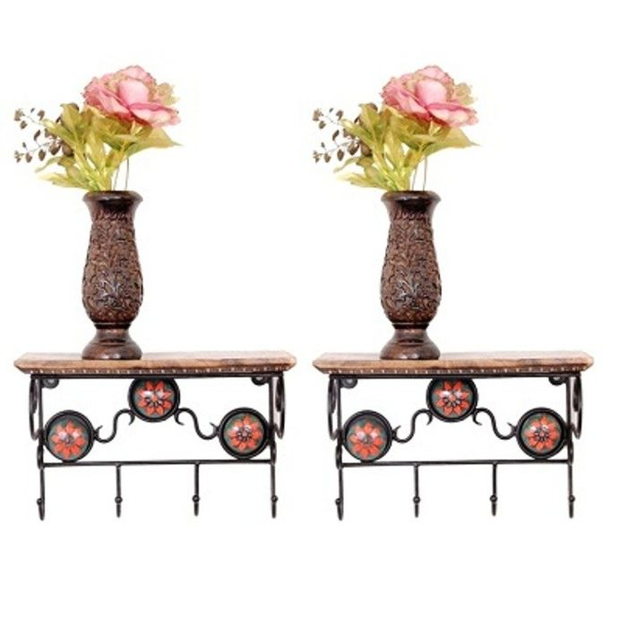 Onlineshoppee Wooden & Wrought Iron Wall Bracket | Book Rack | Cloth Hanger Pack Of 2