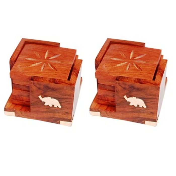 Onlineshoppee Handicrafts Brownish Wooden Coaster Set Pack Of 2
