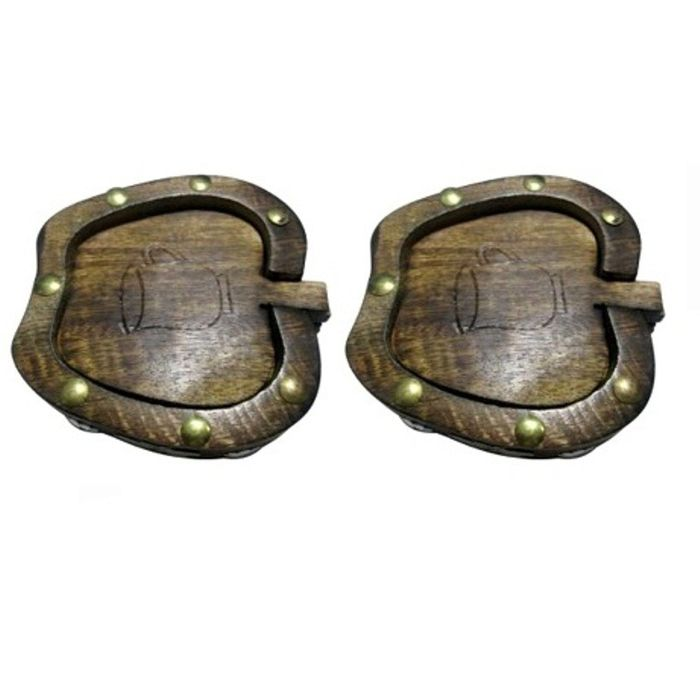 Onlineshoppee Wooden Coaster Set In Apple Shape Pack Of 2