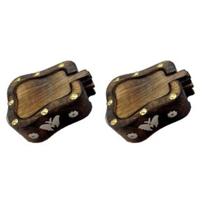 Onlineshoppee Wooden Coaster Set In Papaya Shape Pack Of 2
