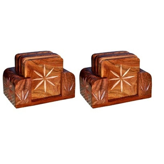 Onlineshoppee Wooden Coaster Set Pack Of 2