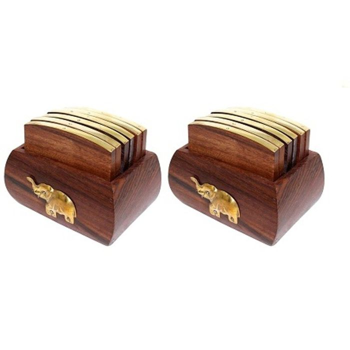 Onlineshoppee Wooden Tea Coaster in Brass Inlay Design Pack Of 2