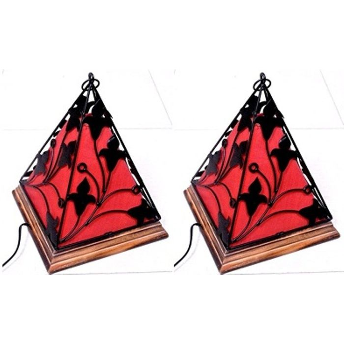 Onlineshoppee Contemporary Wooden & Wrought Iron Lamp Handmade Antique Look - Red Pack Of 2