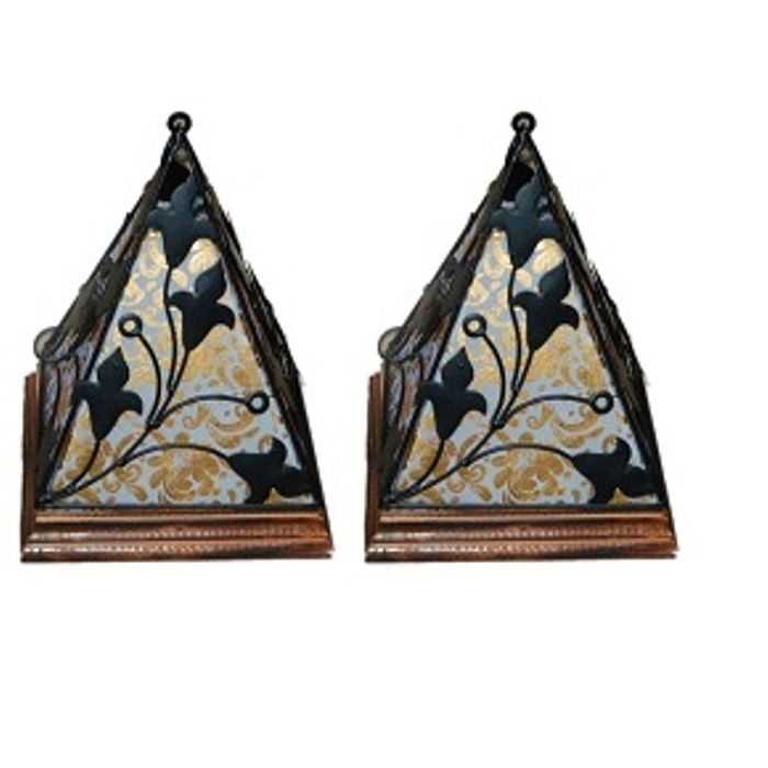 Onlineshoppee Contemporary Wooden & Wrought Iron Lamp Handmade Antique Look - White Pack Of 2