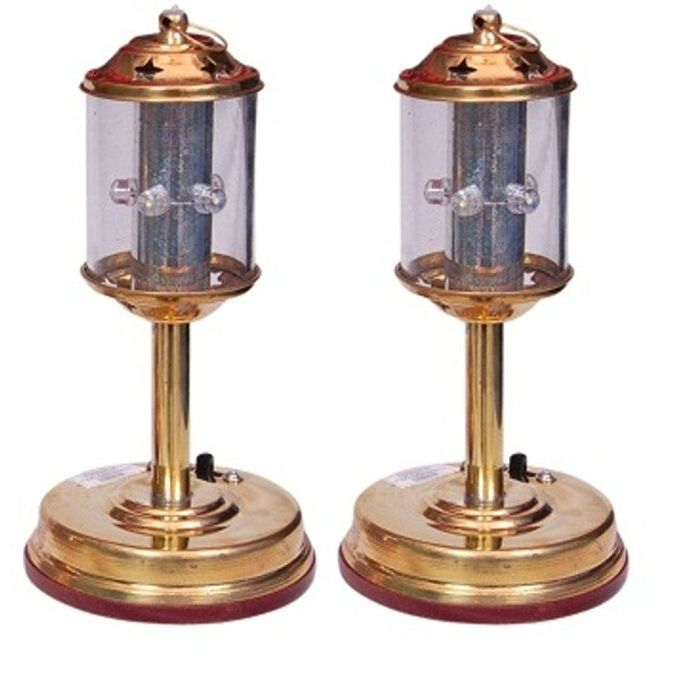 Onlineshoppee Fancy Electric Lantern Made Of Pure Brass  Pack Of 2