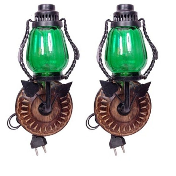 Onlineshoppee Wooden & Iron Fancy  Wall Hanging Electric Chimney Lamp  Sise(LxBxH-6x5x11)  Inch, Color  Green,Pack Of 2
