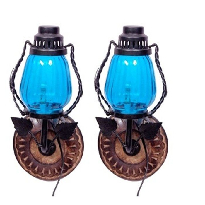 Onlineshoppee Wooden & Iron Fancy  Wall Hanging Electric Chimney Lamp  Sise(LxBxH-6x5x11)  Inch, Color  SkyBlue,Pack Of 2