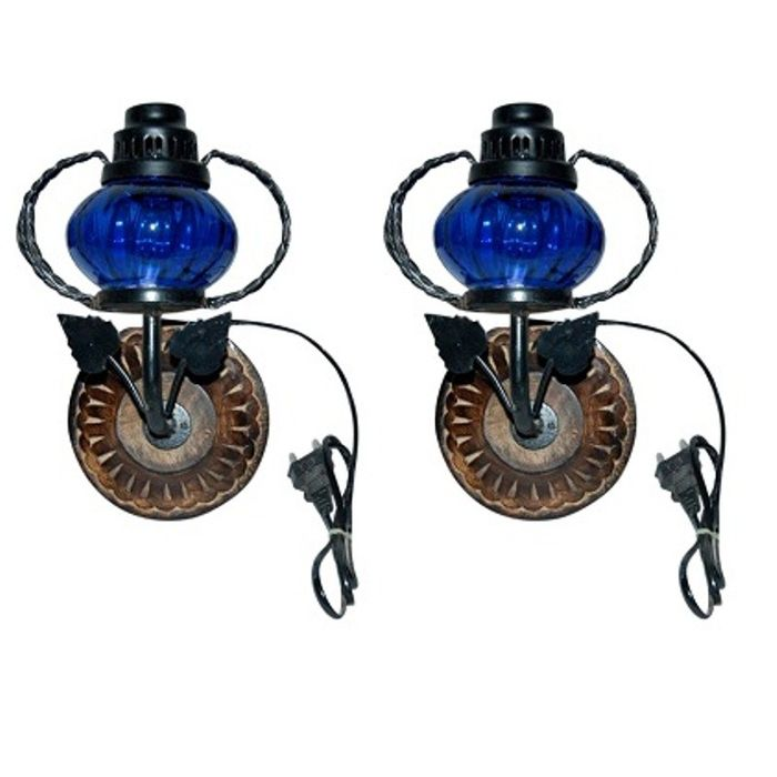 Onlineshoppee Wooden & Iron Fancy  Wall Hanging Electric Chimney Lamp Color Blue,Pack Of 2