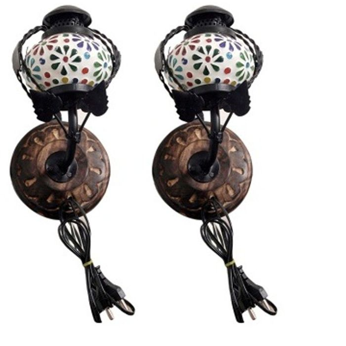 Onlineshoppee Wooden & Iron Fancy  Wall Hanging Electric Colored Chimney  Lamp Design,Pack Of 2
