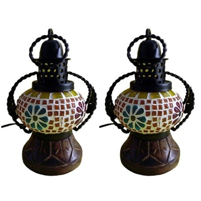 Onlineshoppee Wooden Portal Multicolor Glass Lantern Size(LxBxH-5x4x7) Inch,Pack Of 2