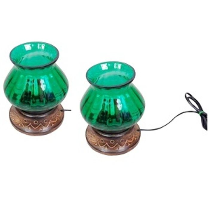 Wooden & Iron Hand Carved Colored Electric Chimney Lamp Design  Green,Pack Of 2