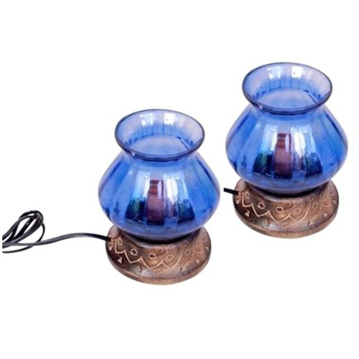 Wooden & Iron Hand Carved Colored Electric Chimney Lamp Design  Sky Blue,Pack Of 2