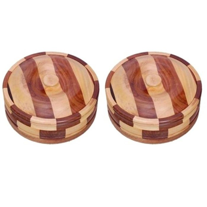 Onlineshoppee Beautiful Wooden Antique Handcrafted Chapati Box,Pack Of 2