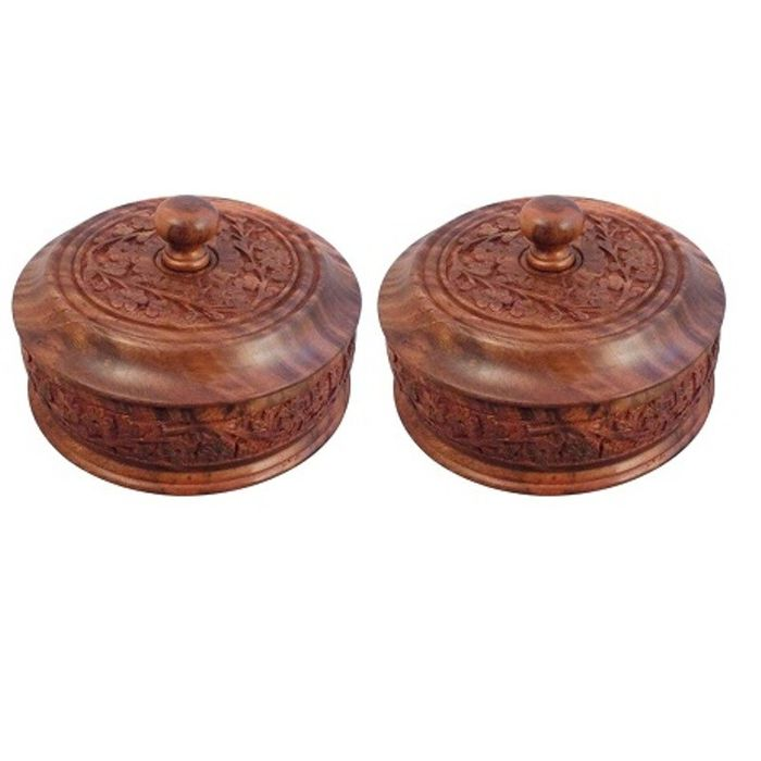 Onlineshoppee Wooden Dry Fruit Box With Hand Carved design. Size (lxbxh-4x4x3) Inch,Pack Of 2