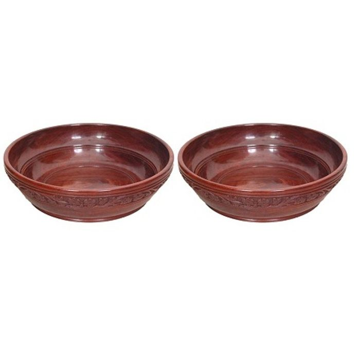 Onlineshoppee Wooden With Handcarving Kitchen Ware Bowl Size (LxBxH-10x10x3) Inch,Pack Of 2