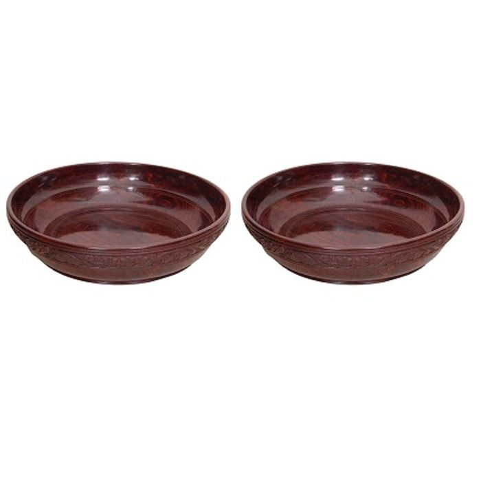 Onlineshoppee Wooden With Handcarving Kitchen Ware Bowl Size (LxBxH-12x12x3) Inch,Pack Of 2